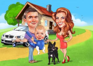 Семейный шарж с ребёнком и собакой, заказать онлайн