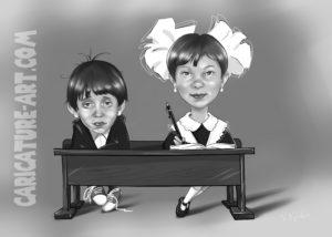 Дружеский шарж дети,шарж цена,детские шаржи рисунок
