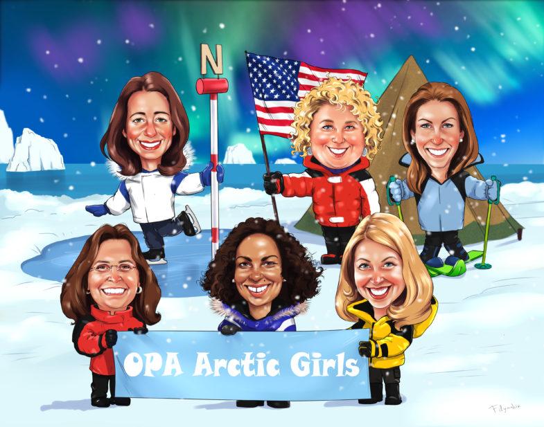 Женский шарж на лыжах, шарж женщины на коньках. Женская команда на северном полюсе с американским флагом