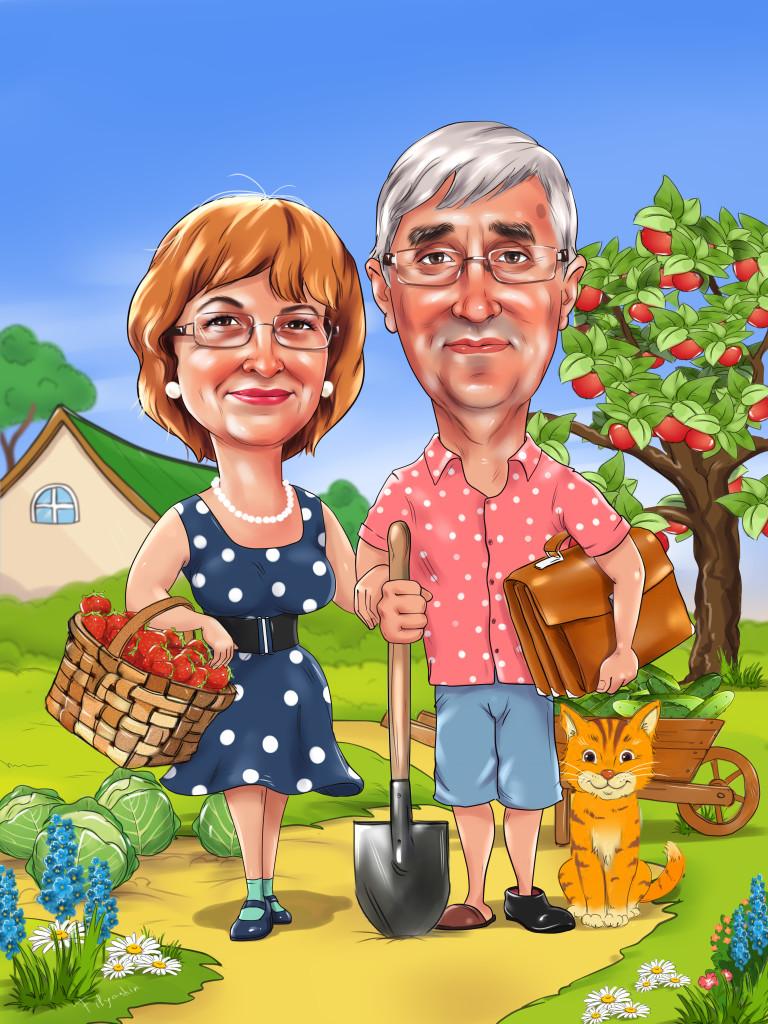Супружеская пара дачников, рисунок