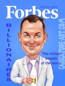 Шарж для мужчины на Forbes,подарок на день рождения