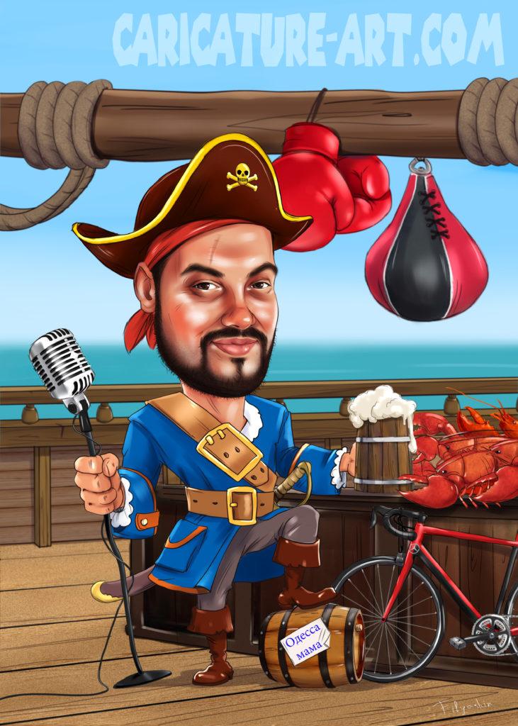 Шарж мужчины пирата, шарж пиратский, шарж для мужчины на корабле