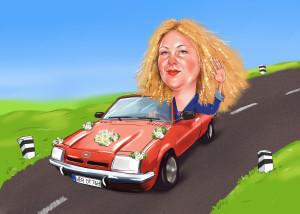 Шарж для женщины на автомобиле, шарж онлайн