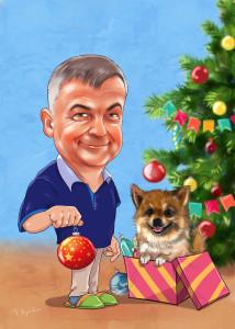 Шарж новогодний с собакой
