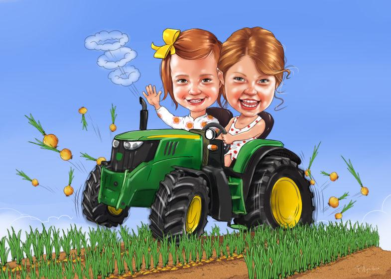 Шарж детский, рисунок трактора на поле, луковое поле