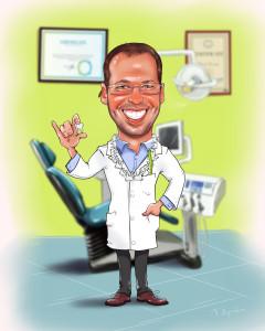 Шарж на стоматолога, шаржи на профессию медика