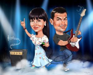 Шарж на годовщину свадьбы, подарок к ситцевой свадьбе с гитарой