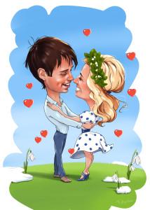 Рисунок пары влюблённых