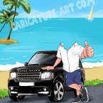 Шарж мужчины с Range Rover