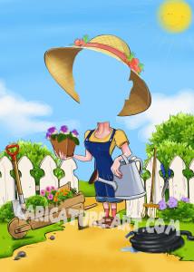 Шаблон шаржа для бабушки с цветами