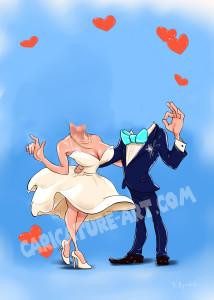 Шаблон шаржа для свадьбы