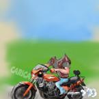 Шаблон шаржа на мотоцикле