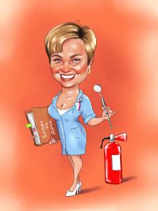 Цифровйо шарж на женщину стоматолога