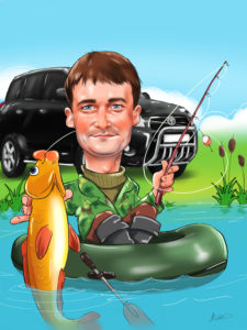 Подарок рыбаку, шарж рыбака по фото