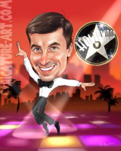 Рисунок мужчины танцора в Голливуде.