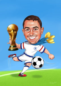 Шарж подарок футболисту, карикатура на футболиста