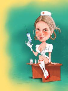 Шарж для профессиональной медсестры подарок, рисунок сексуальной медсестры. Профессиональные шаржи по фото
