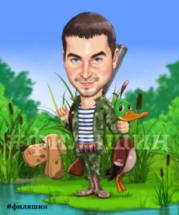 Шарж на охотника, рисунок охотника с собакой