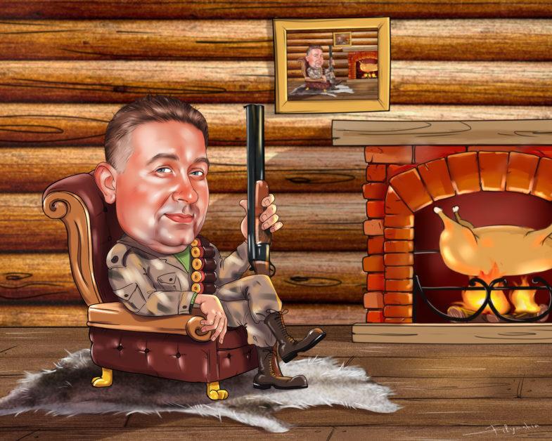 Рисунок охотника в кресле,шарж для охотника с ружьём,охотник на шкуре волка