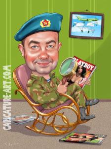 Шарж подарок мужу на день ВДВ, шарж для ВДВ с журналом Плейбой