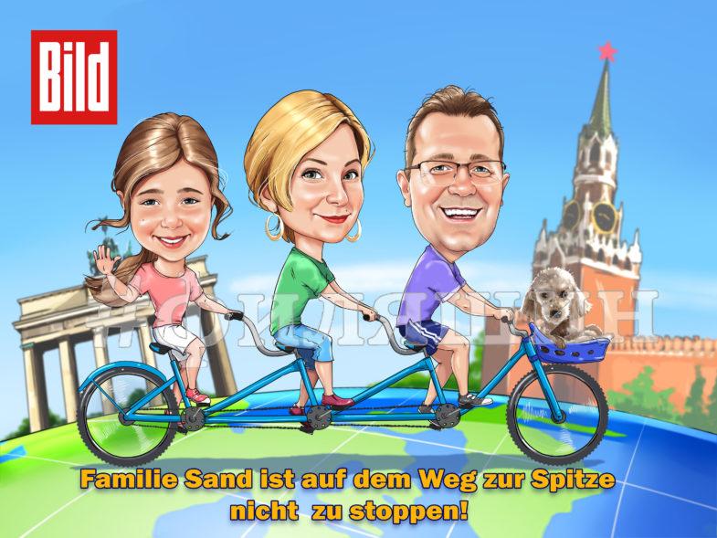 Весёлый семейный шарж семья на велосипеде едет по глобусу