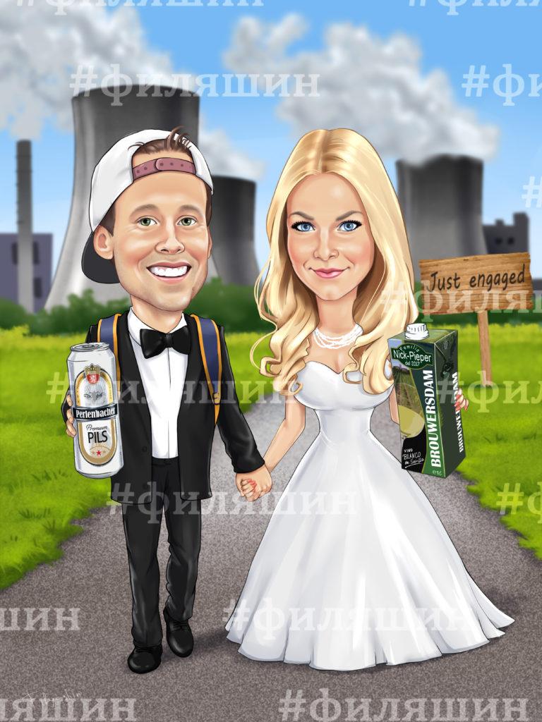 Шарж на свадьбу, жених с рюкзаком и в кепке