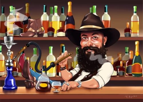 Шарж на профессию бармена, цифровая графика с коньяком и кальяном. Подарок бармену