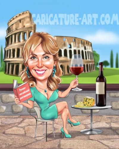 Шарж женщина в кафе, рисунок колизея,шарж женский в подарок