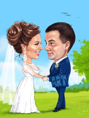 Шарж на свадьбу, свадебный подарок, шарж жениха и невесты