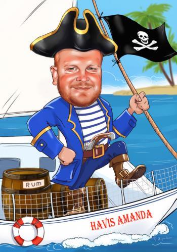 Шарж с ромом на яхте, рисунок онлайн