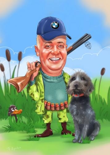 Шарж по фото охотнику подарок, цветной шарж на охотника