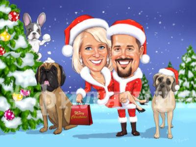 Шарж рождество с собаками