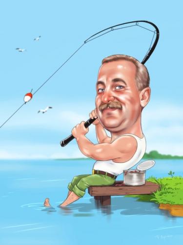 Шарж рыбаку,подарок для рыбака,шарж по фото на рыбака