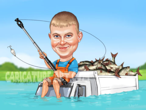 Шарж рыбака автослесаря. С хорошим уловом