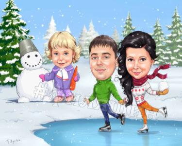 Семейный шарж на Новый год