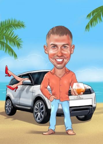 Цифровой шарж парня с машиной. шарж водителю белого авто, шарж парню подарок