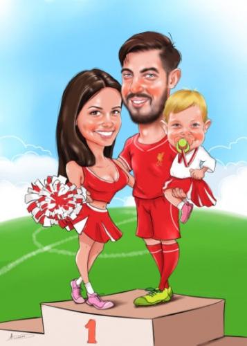 Семейный шарж на День Валентина,карикатура футболиста с девушкой