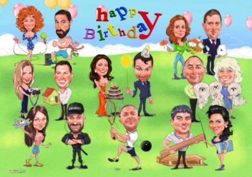 Шарж от друзей на день рождения