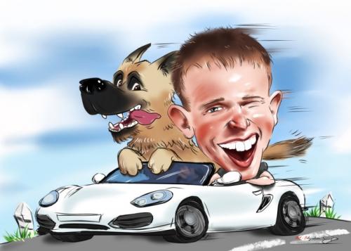 Шарж автомобилиста с собакой