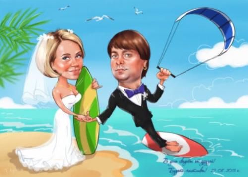 Свадебный шарж сёрфингистов в подарок
