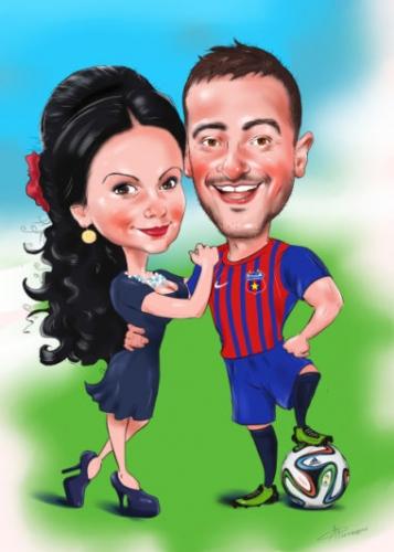 Шарж цифровой подарок футболисту,карикатура футболиста с мячом