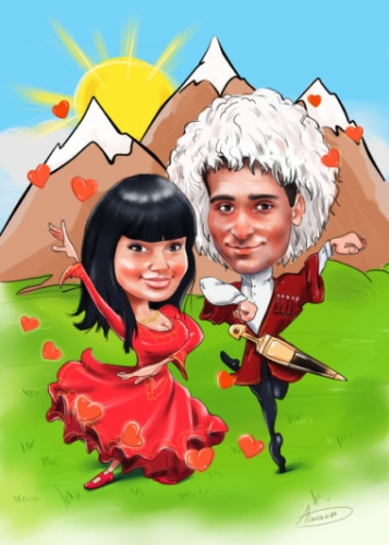 Шарж для кавказской пары