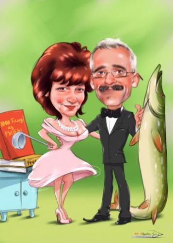Шарж к годовщине свадьбы, шарж рыбак с большой щукой