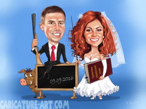 Шаржи на свадьбу,подарок для свадьбы молодым,весёлый свадебный шарж