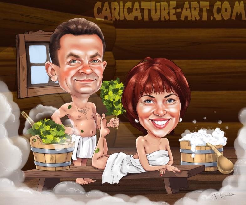 Шарж в бане, рисунок пары в бане, женщина в бане