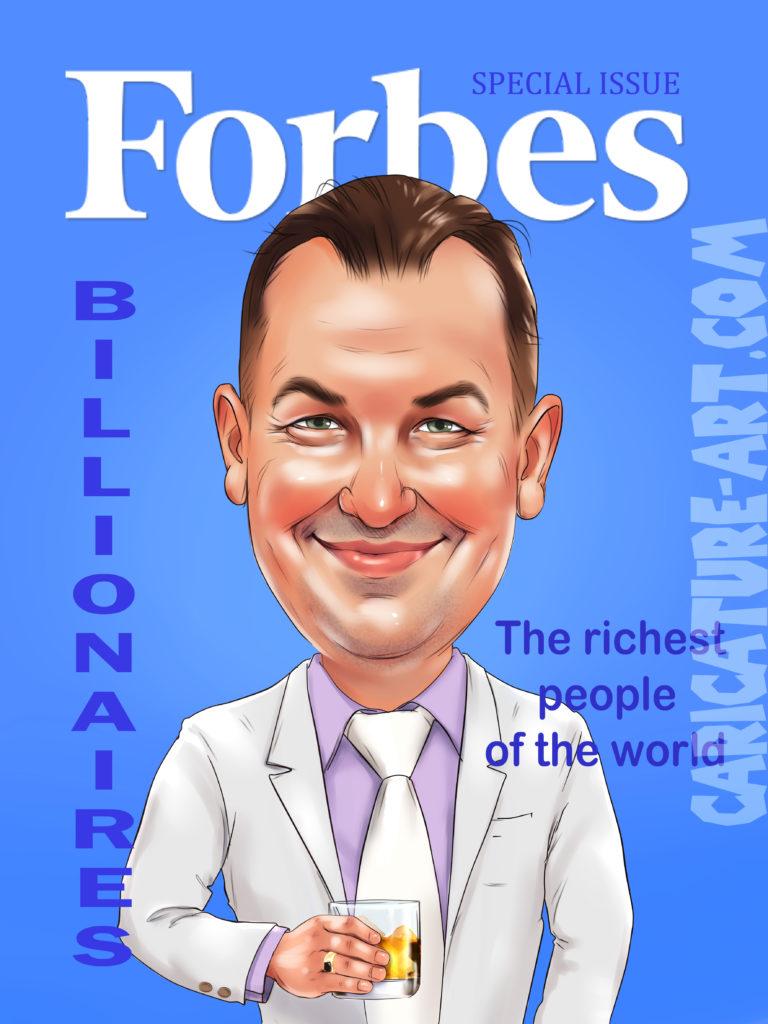 Шарж для шефа на Forbes,подарок на день рождения