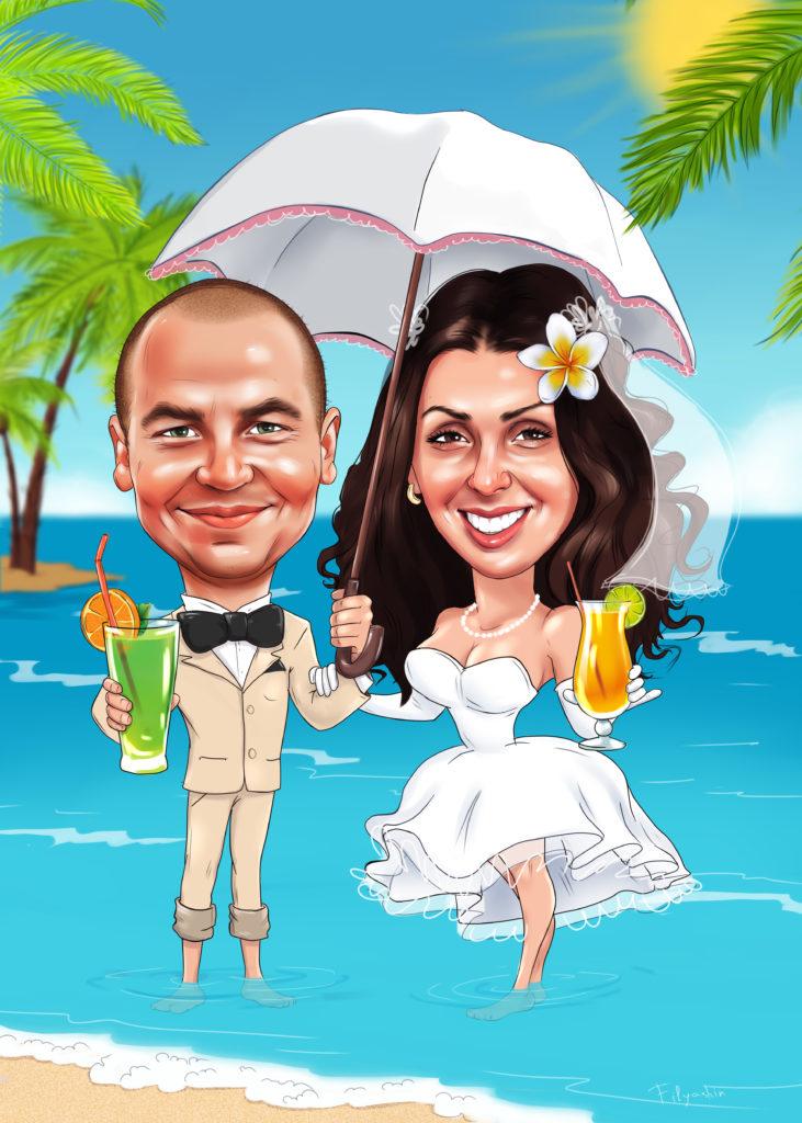 Свадебный шарж фото на пляже,шарж на свадьбу в тропиках