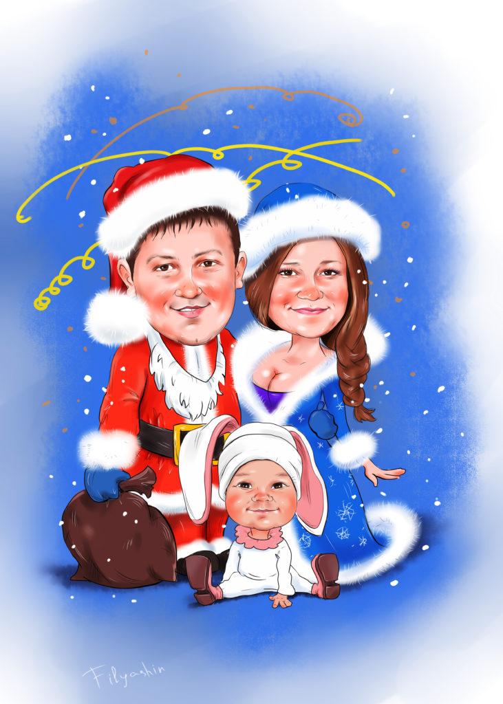 Новогодний шарж с ребёнком в костюме зайчика
