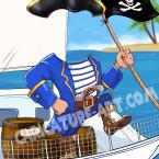 Шаблон шаржа пирата на паруснике