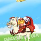Шаблон шаржа с короной на коне